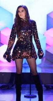 dress,sequins,sequin dress,hailee steinfeld,mini dress,long sleeve dress