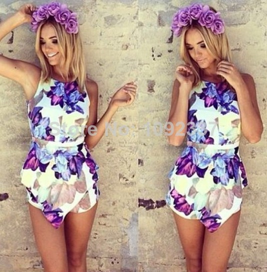 Floral Print Chiffon Jumpsuit Women Shorts Leggings Halter Overall Tank Sexy Hollow Out Summer Playsuit Feminino Romper SS370-in Jumpsuits & Rompers from Apparel & Accessories on Aliexpress.com