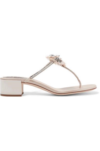René Caovilla embellished sandals leather sandals leather beige shoes