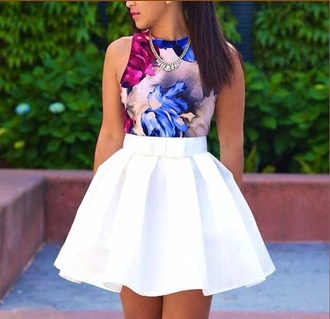 shirt skirt tank top floral top crop tops flowers white skirt blouse pleated skirt white high waisted dress flare pleated skater skirt floral crop top sleevless lalall apparell