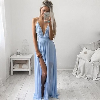 dress blue pastel prom formal wedding maxi dress plunge dress blue maxi dress