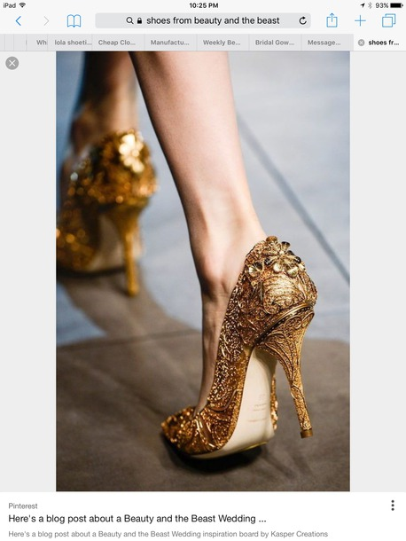 Shoes Heels Gold Flowers Wheretoget