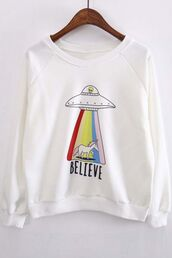 sweater,alien,unicorn,rainbow,fashion,white,casual,cool,beautifulhalo