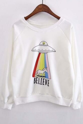 sweater alien unicorn rainbow fashion white casual cool beautifulhalo