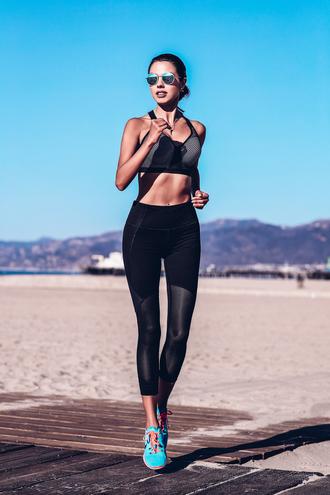 viva luxury blogger sports bra sportswear sports leggings sneakers workout workout leggings black leggings mesh leggings sports sneakers mirrored sunglasses