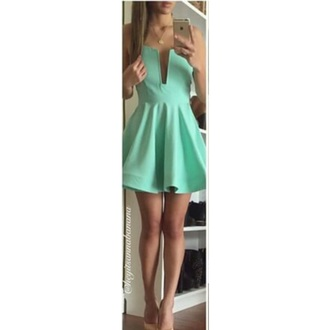 dress cute beautiful mint dress clevage