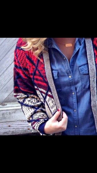 cute color cardigan pattern red