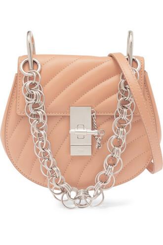 quilted bag shoulder bag leather peach