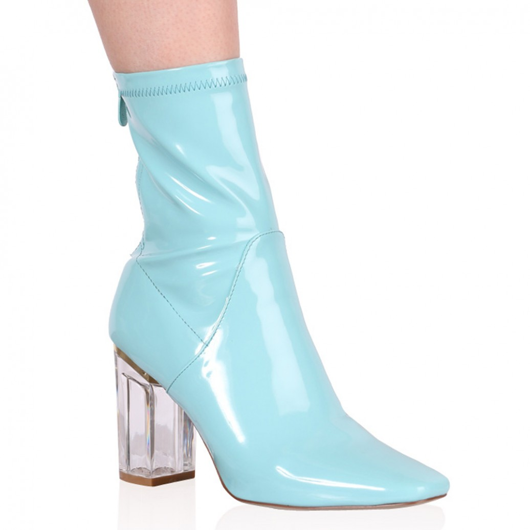 Chloe Perspex Heeled Ankle Boots in Baby Blue Patent