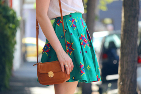 skirt green bag jewels brown bag white shoulder bag white shirt cute pleated skirt