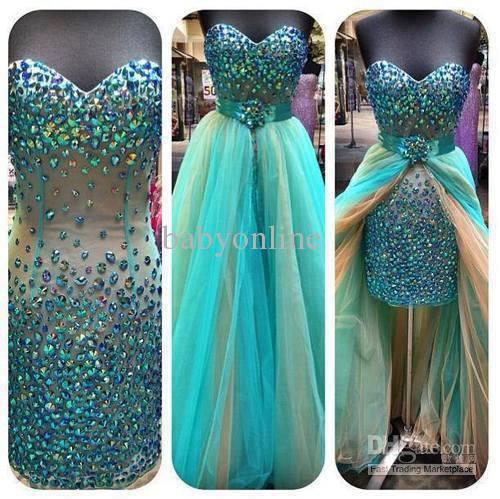 2014 ! Sexy Hunter Green Mini Short Hi lo Pageant Dresses Above Knee Strapless Beaded Crystals Colorful Rainbow Dresses-in Party Dresses from Apparel & Accessories on Aliexpress.com