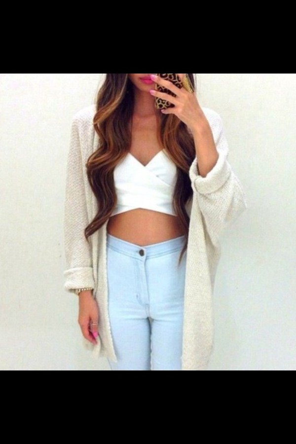 jeans t-shirt sweater cardigan
