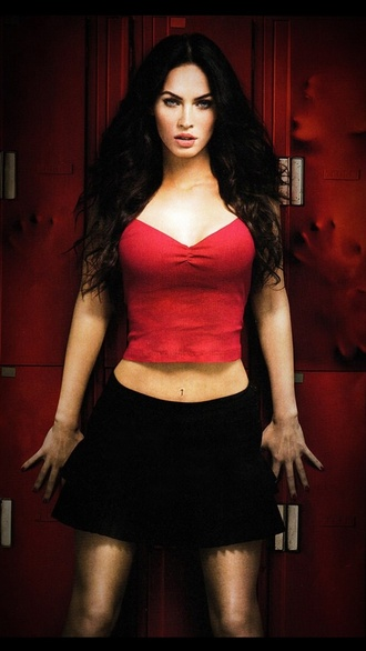 tank top red straps shortish megan fox jennifer's body sexy blouse