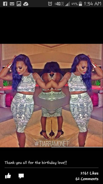 dress dollar sign bidycon two piece dress set crop tops