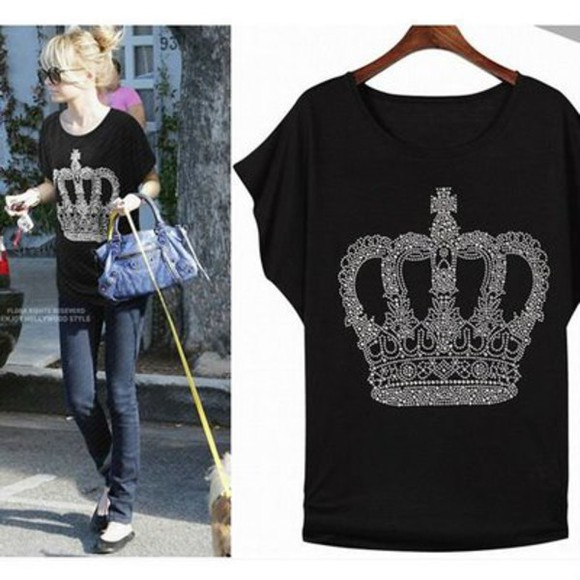 nicole richie bling shirt crown crown shirt nicole crowns black shirt white shirt summer outfits summer shirt bling ootd celebrity style celebrity style steal celebrities celebrity look for less