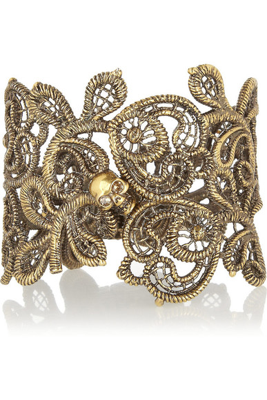 alexander mcqueen crystal skull jewels burnished gold-tone swarovski crystal cuff gold cuff