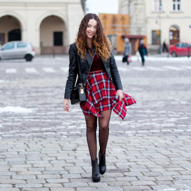 kolorowa dusza blogger jacket plaid skirt red skirt