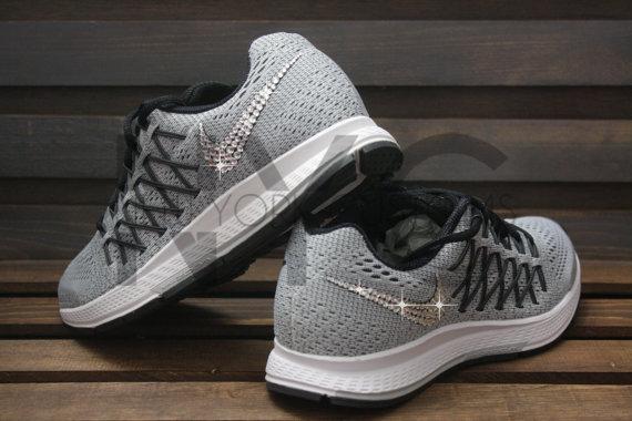 f15d53860859 Blinged Nike Air Zoom Pegasus 32 Grey Customized With Swarovski ...