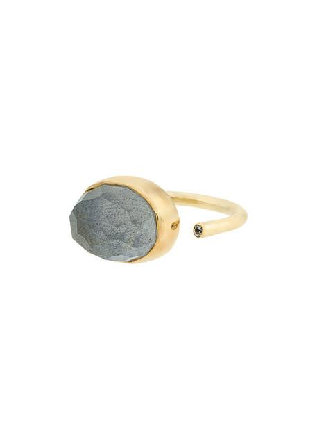 Katerina Makriyianni open women ring gold silver grey metallic jewels