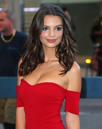 blurred lines robin thicke red dress off the shoulder bodycon dress knee length casual dressy model emily ratajkowski