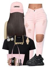 pants,pink,jeans,ripped jeans,polyvore,black crop top,nike,nike shoes,nike air,huarache,kate spade,tote bag,handbag,pink bag,money,gold chain,rolex,gold watch,jewelry,etsy,pink cap,snapback,iphone cover,iphone case,quote on it phone case,mascara,eyeliner,marc jacobs,long hair,pink nails,pink jeans,earrings,hat,baseball cap,beyonce,cap
