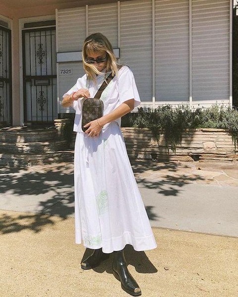 le fashion image blogger sunglasses shirt skirt shoes louis vuitton bag white shirt white skirt boots