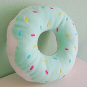 home accessory,donut,food,girly,pillow,pretty,mint,pastel,sprinkles,kawaii,cute,home decor