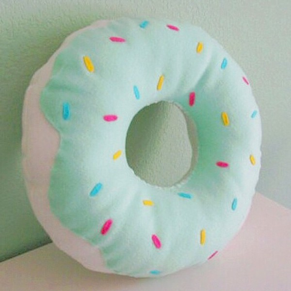 home accessory donut food girly pillow pretty mint pastel sprinkles kawaii cute home decor
