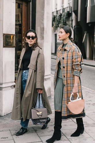 coat plaid coat tartan coat tartan skirt green skirt boots black boots grey coat pleated skirt trench coat