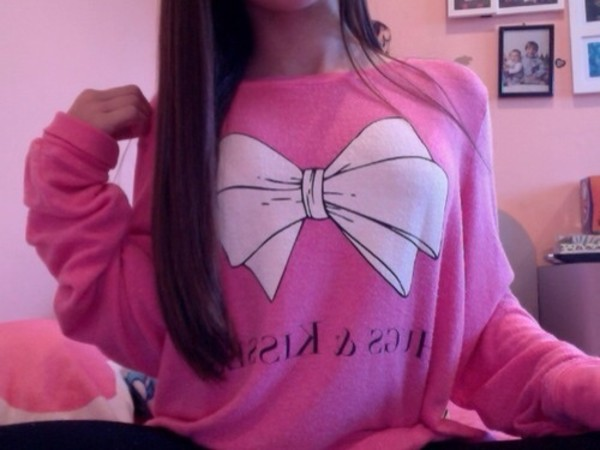 sweater pink bows shirt