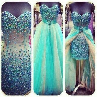 dress blue dress blue prom dresses prom dress crystal quartz sparkly dress 2in1 prom gown
