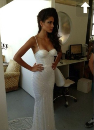 dress bodycon dress beautiful white straps mermaid sparkly dress bandeux