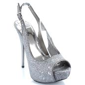 shoes,heels,high heels,glitter shoes,glitter,sparkle,sparkly heels,sparkly high heels,slingback heels,slingback pumps,peeptoe heels,peep toe heels,peep toe,silver,silver heels,peep toe pumps
