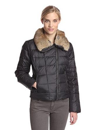 Umi stockholm down black jacket real rabbit fur collar at amazon women's coats shop