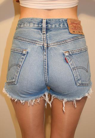 Vintage Light Denim Reworked High Waisted Levis 501 Shorts | Beworn | ASOS Marketplace