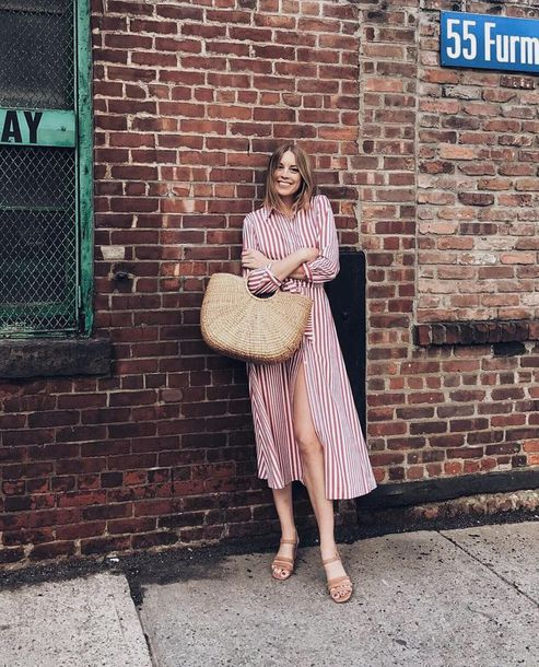 dress red striped shirt dress basket bag brown sandals blogger