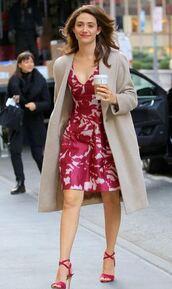 dress,midi dress,emmy rossum,sandals,trench coat,plunge dress