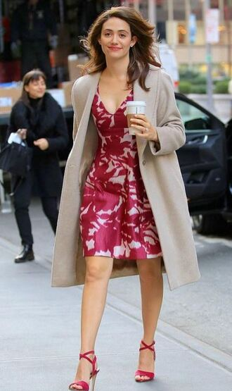 dress midi dress emmy rossum sandals trench coat plunge dress