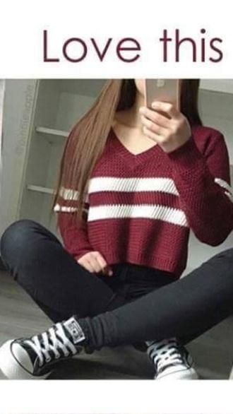 sweater burgundy sweater varsity