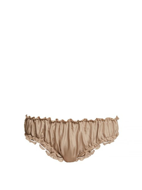Loup Charmant - Gathered Silk Briefs - Womens - Beige