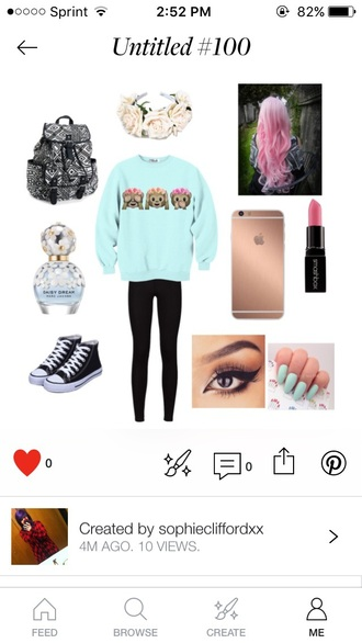 sweater outfit pink hair iphone parfum pink lipstick bag make-up nails back to school