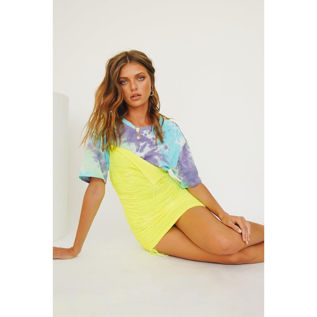 VG Summer In Capri Drawstring Mini Dress // Neon Lime