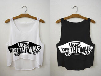 top vans off the wall vans black white crop tops