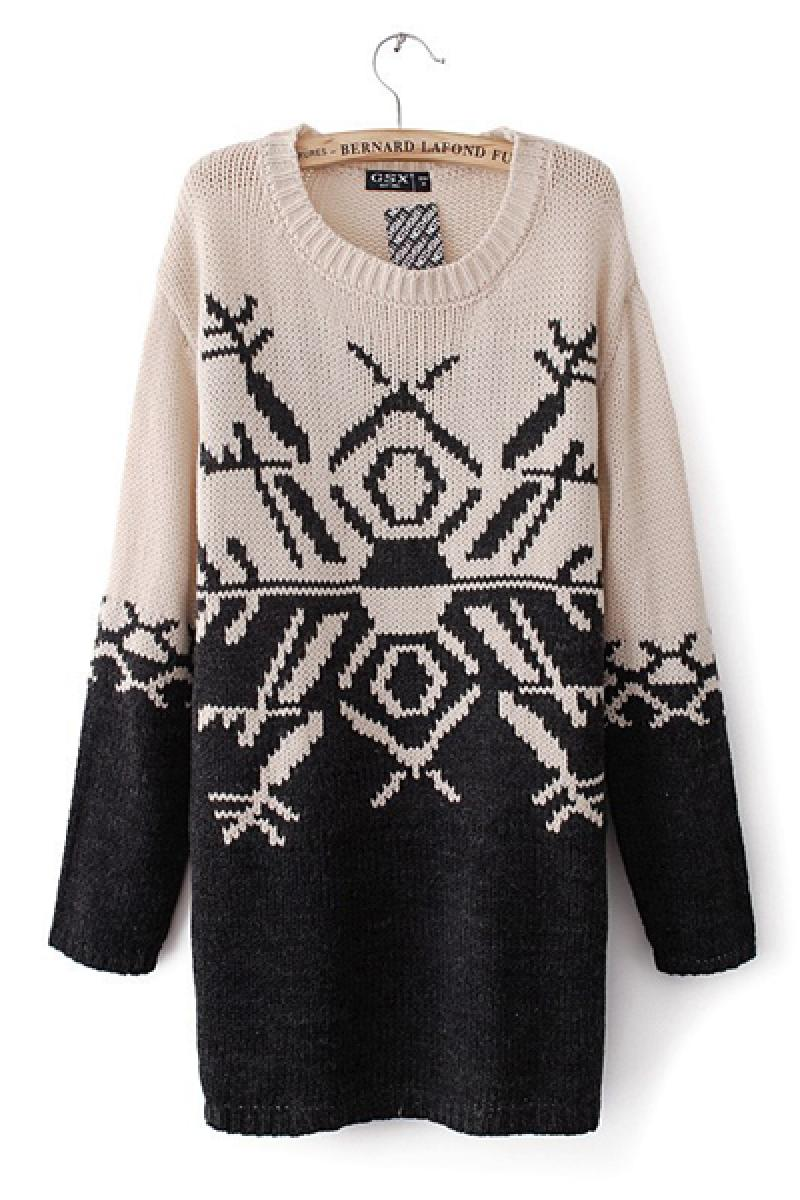 2013 Autumn & Winter New Section Geometric Pattern Long Section Sweater  ,Cheap in Wendybox.com