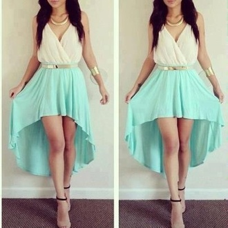 dress mint classy perfect gold dressy formal summer girly fashion high-low dresses glamour prom dress jewels blue white gold belt goddess beautiful gold jewelry teal blue and white turquoise dress blue dress formal dress