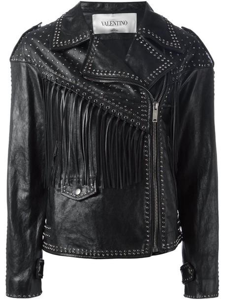 Valentino jacket biker jacket studded women cotton black silk