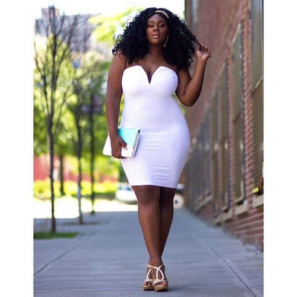 Dress: white dress, white, plus size dress, curvy, short dress ...