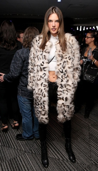 coat fur coat alessandra ambrosio animal print crop tops turtleneck top