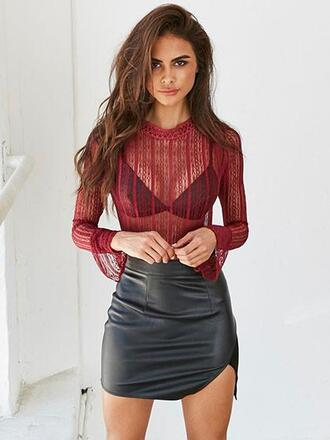 top mynystyle mesh style trendy burgundy fashio fashion back to school cute fall outfits summer girly tumblr chic