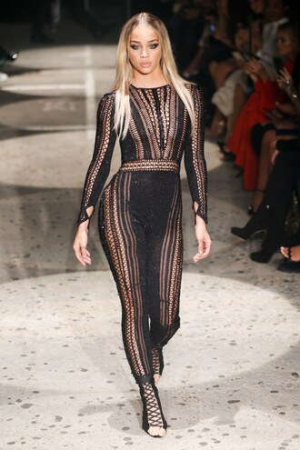 jumpsuit see through jasmine sanders london fashion week 2017 runway model lace up julien macdonald